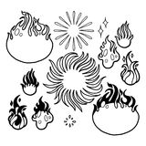 Graphic fire flames. Abstract collection of graphic fire flames. Vector design elements isolated on white background. Coloring book page for adults and kids Royalty Free Stock Photo