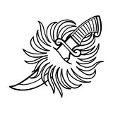 Graphic fire and the knife. Graphic stylized fire pierced by the metal knife. Vector art for old school tattoo design isolated on white background. Coloring book Royalty Free Stock Images