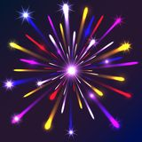 Graphic fireworks in black background Stock Photos