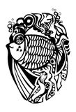 Graphic fish illustration. Vector. Black and white decorative illustration of a magic fish Royalty Free Stock Images