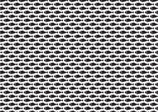 Graphic fish repeated pattern. Black graphic fish repeated pattern Royalty Free Stock Photos