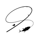 Graphic fishing hook, vector. Illustration fishing hook on white background, vector Royalty Free Stock Photos