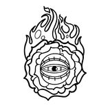 Graphic flaming flower and all-seeing eye. Graphic stylized flaming flower with all-seeing eye. Vector art for old school tattoo design isolated on white Royalty Free Stock Images