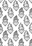 Graphic flaming gemstones. Graphic seamless pattern of flaming gemstones. Vector old school tattoo design. Traditional style. Coloring book page for adults and Stock Images