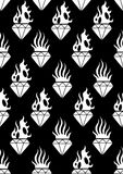Graphic flaming gemstones. Graphic seamless pattern of flaming gemstones. Vector old school tattoo design. Traditional style. Coloring book page for adults and Stock Photo