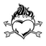 Graphic flaming heart pierced by two arrows. Vector art for old school tattoo design isolated on white background. Coloring book page for adults and kids Stock Images