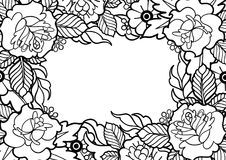 Graphic floral design. Graphic floral card. Vector vintage design drawn in old school tattoo style. Coloring book page for adults and kids Stock Photo