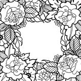 Graphic floral design. Graphic floral card. Vector vintage design drawn in old school tattoo style. Coloring book page for adults and kids Royalty Free Stock Images