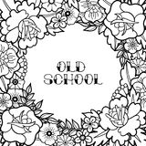 Graphic floral design. Graphic floral card. Vector vintage design drawn in old school tattoo style. Coloring book page for adults and kids Stock Images