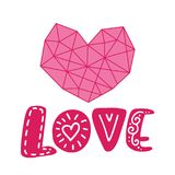 Graphic floral geometry heart and text love. Vector Illustration isolated on background. Wedding, St. Valentine`s Stock Image