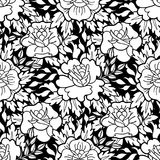 Graphic floral pattern. Graphic floral seamless pattern. Vector vintage design. Traditional style. Coloring book page for adults and kids Stock Image