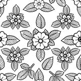 Graphic floral pattern. Graphic floral seamless pattern. Vector vintage design. Traditional style. Coloring book page for adults and kids Stock Photography