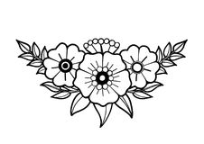 Graphic floral vignette. Isolated on white background. Vector old school tattoo design. Traditional style. Coloring book page for adults and kids Royalty Free Stock Images