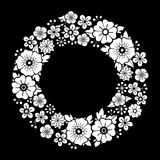 Graphic floral wreath. Isolated on black background. Vector vintage design. Coloring book page for adults and kids Stock Photos