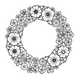 Graphic floral wreath. Isolated on white background. Vector vintage design. Coloring book page for adults and kids Stock Photo