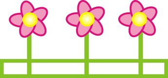 Graphic flower illustration. Pink simple flower illustration white background Royalty Free Stock Photo
