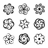 Graphic flower shapes set. Black floral elements for decoration and beauty design. Creative template logos collection. Natural emblems vector illustration Royalty Free Stock Photo