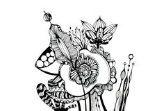Graphic flowers. Black-and-white graphics. Different flowers bouquet Stock Images