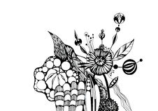 Graphic flowers. Black-and-white graphics. Round flower. Stock Photo