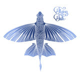 Graphic flying fish Stock Photos