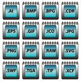 Graphic formats - set of vector icons Stock Photos