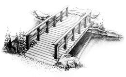 Graphic freehand drawing of wooden bridge Stock Photo