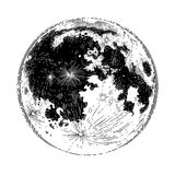 Graphic full moon. Graphic moon isolated on white background. Tattoo art or t-shirt design in black and white colors Stock Photography