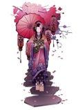 Graphic geisha with umbrella Royalty Free Stock Photos