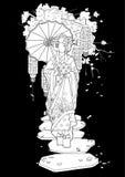 Graphic geisha with umbrella Stock Images