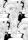 Graphic geisha with umbrella Stock Photos