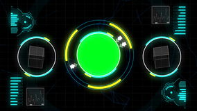 Graphic geometric polygon interface in chroma key green screen with numbers, scale, computer measurement analysis sign and symbol. stock footage