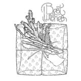Graphic gift package. Gift package made of craft paper with coniferous decorations. pine tree branches and cones. Christmas vector design  on white background Royalty Free Stock Image