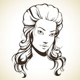 Graphic girl with beautiful hair. Linear vector illustration Stock Photos