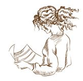 Graphic girl reading a newspaper. Youth. Modernity. Popularity. Curly hair Royalty Free Stock Photo