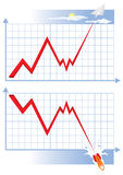 Graphic growth and decline. Vector illustration. Stock Photo