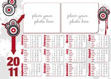 Graphic grunge 2011 calendar Royalty Free Stock Photos