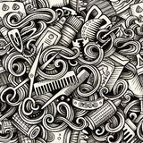 Graphic Hair salon artistic doodles seamless pattern Royalty Free Stock Photos