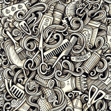 Graphic Hair salon hand drawn artistic doodles seamless pattern. Royalty Free Stock Images