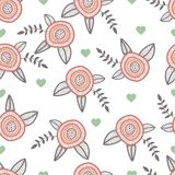 Graphic hand drawn flowers. Catoon style. Illustrations with hearts Stock Image