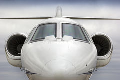 Graphic Head On  Perspecive of Business Jet Aircraft. This graphic, straight on perspective of a business jet would have a variety of uses in the business travel Stock Photography