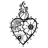 Graphic heart with floral decorations. Graphic flaming heart with floral decorations. Inspired by old school tattoo style. Vector traditional design isolated on Stock Photography