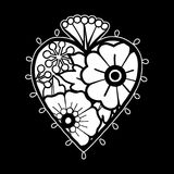 Graphic heart with floral decorations. Inspired by old school tattoo style. Vector traditional design isolated on black background. Coloring book page for Stock Image