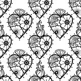 Graphic hearts with floral decorations. Graphic flaming hearts with floral decorations. Inspired by old school tattoo style. Vector seamless pattern. Coloring Stock Image