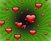 Graphic Hearts in green background Stock Image
