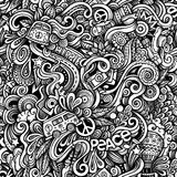 Graphic Hippie hand drawn artistic doodles seamless pattern Stock Image