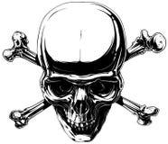 Graphic horror human skull with crossed bones. Graphic horror black and white detailed human skull with crossed bones and canines vector Royalty Free Stock Photos