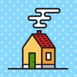 Graphic house. Flat illustration of house on sky background royalty free illustration