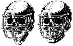 Graphic human skull in american football helmet Stock Photos