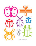 Graphic icon bug cute, vector Royalty Free Stock Photos