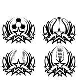 Graphic Icons Soccer Basketball Baseball Football. Sports Championship Icons Soccer Basketball Football and Baseball Stock Photo